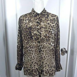 Laila & Savannah Leopard Print 100% Silk Top Small